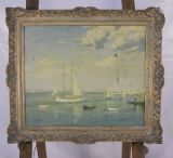 Gilt Framed Canvas Yachting Scene by Leslie Kent